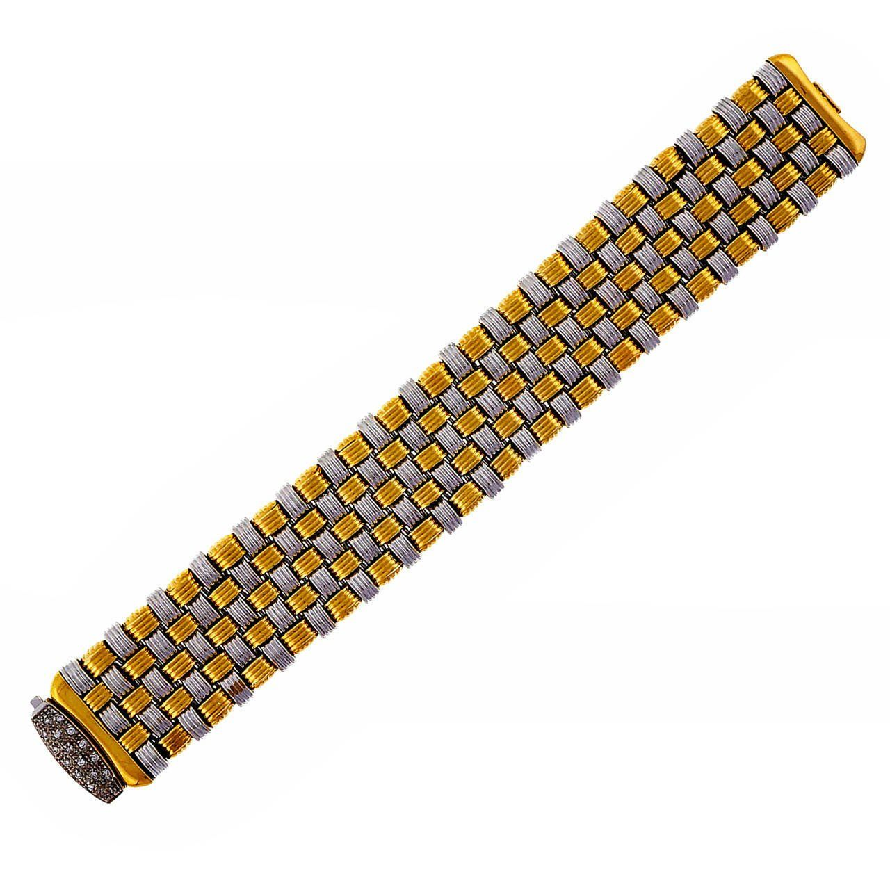 Italian Wide Two Color Gold Mesh Bracelet 1960 Mesh bracelet