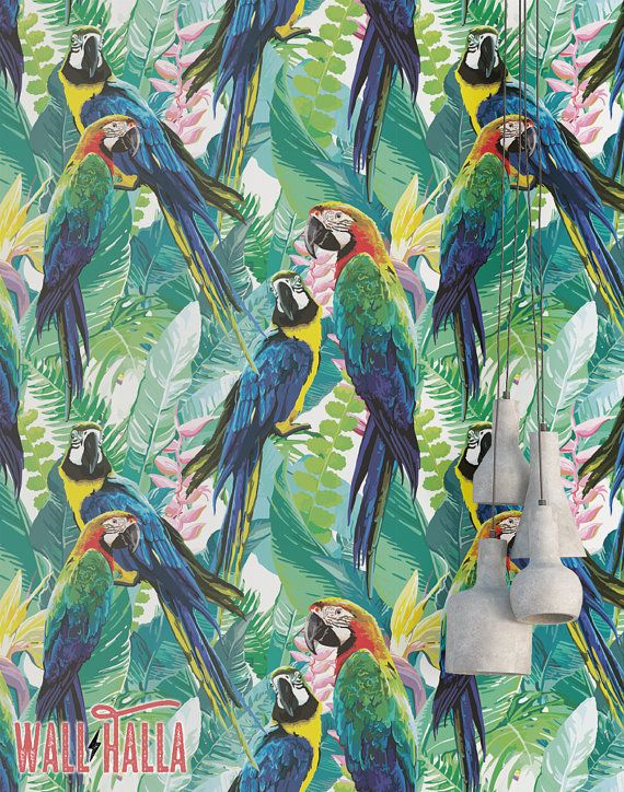 Parrots And Flowers Wallpaper Removable Peel And Stick Etsy Parrot Wallpaper Wallpaper Vintage Parrot