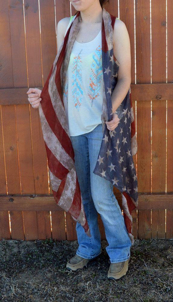 0eda520f938b7 AMERICAN FLAG Distressed Patriot KIMONO VEST Cowgirl Boho Gypsy Festival  Scarf #Unbranded #vest