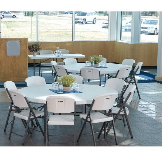 Incroyable Lifetime 42970 5 Ft Round Tables 4 Pack With White Granite Color Top. This
