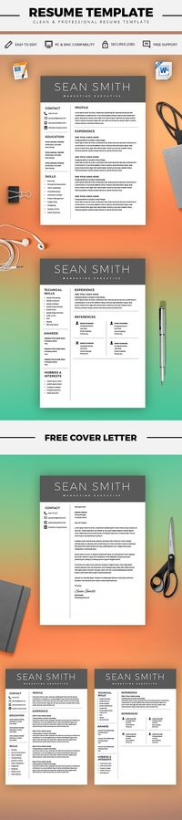 Curriculum Vitae Template - Professional Resume Template + Cover - cover letter microsoft word
