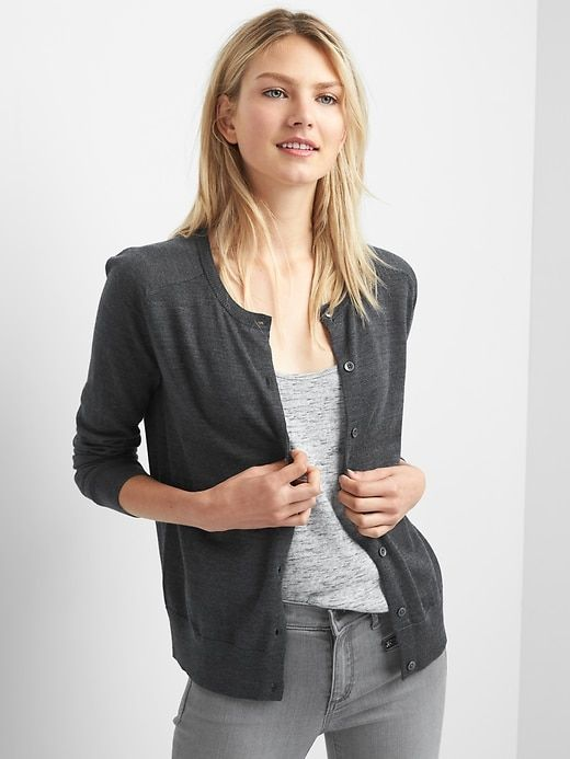 13551df0f Gap Womens Merino Wool Crewneck Cardigan Charcoal Heather