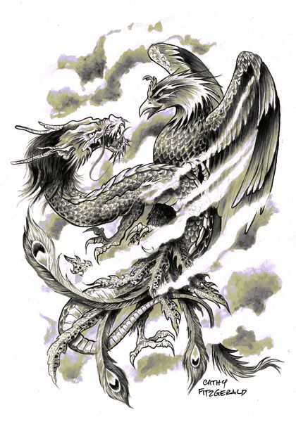 Phoenix Dragon Tattoo Idea They Represent Ying And Yang Phoenix Tattoo Japanese Tattoo Art Phoenix Tattoo Sleeve