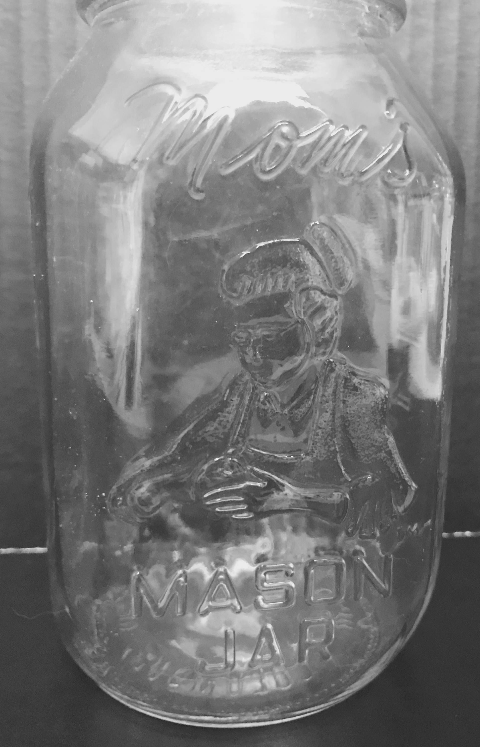 Vintage Mom's Mason Jar with an Old Lady, Mason Jar has on