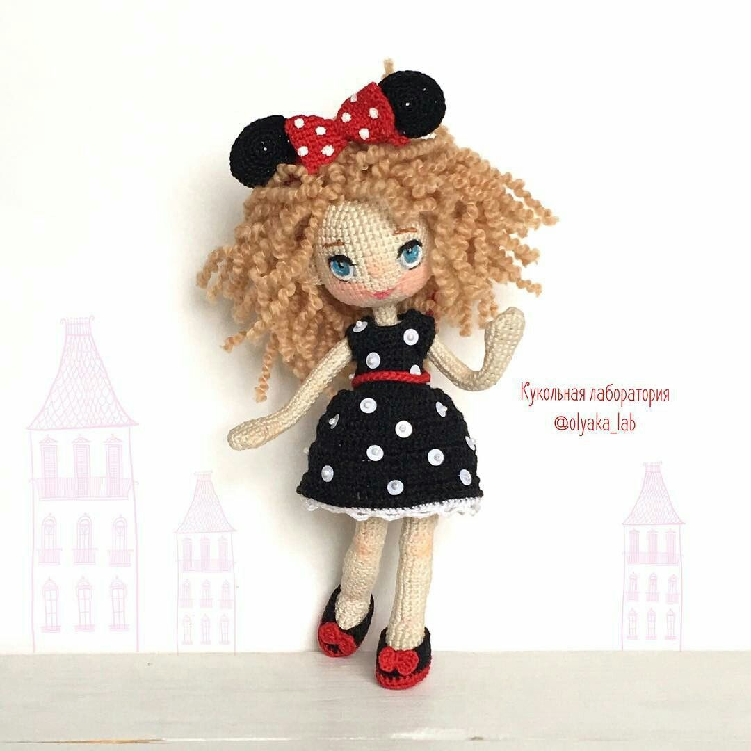 lovely doll amis pinterest dolls amigurumi and crochet dolls amigurumi doll in minnie mouse style fancy dress outfit bankloansurffo Choice Image