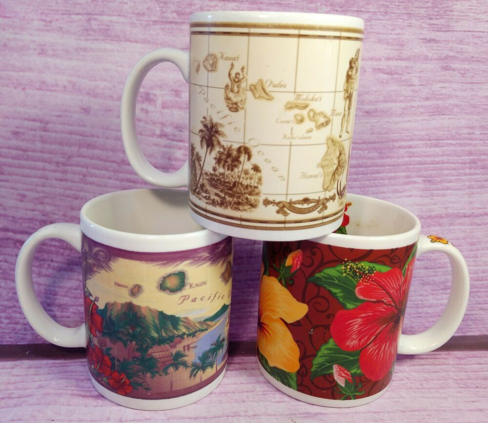 Details about hawaii coffee mugs cups lot of 3 hibiscus
