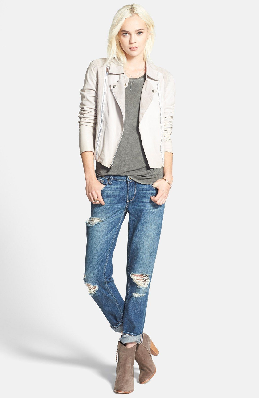 Paige Denim 'Silvie' Suede & Leather Moto Jacket Denim