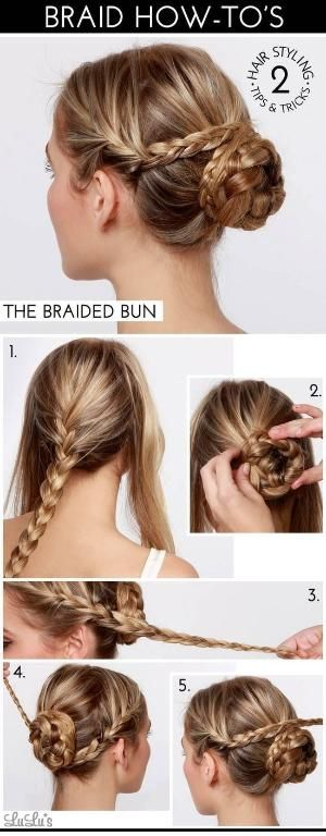 Braided bun. Great hair idea for holidays, weddings and other events. #updo #bun #simplehairstyle #braids by juliet