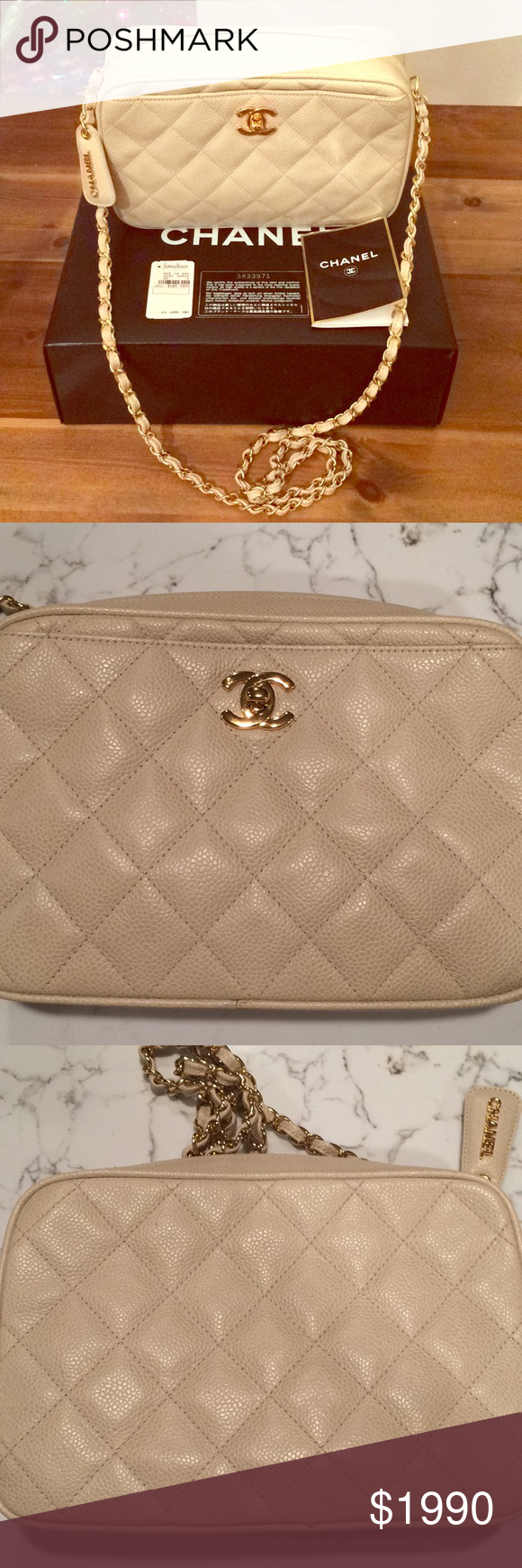 818d4e562bb4e0 Authentic Chanel Caviar Skin Bag GHW Still have it's original tag, dust bag,  box, authentication card. Can be worn as a crossbody or shoulder bag.
