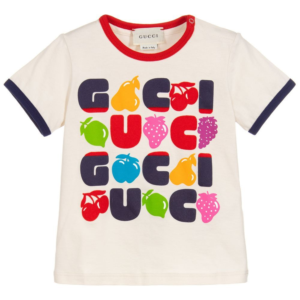 0d952f0999d0 Girls ivory cotton T-shirt for baby girls by luxury brand Gucci. It ...