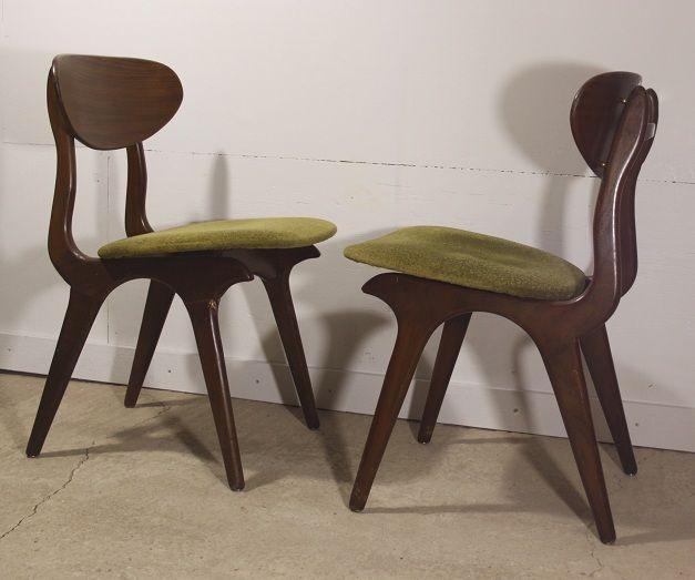 4 stoere, vintagte eetkamerstoelen van Deens design. Perfect voor ...
