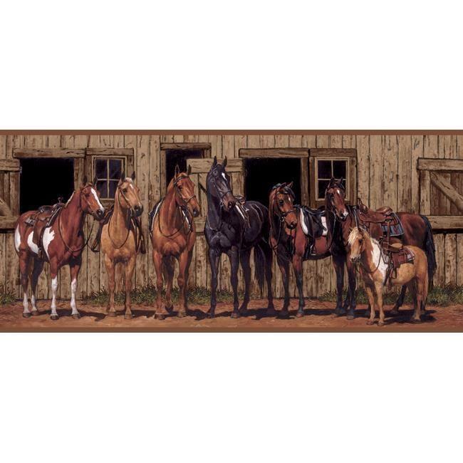 Wallpaper Border Western Horses In Front Of Barn York