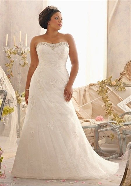 cefee2048aba Fitted A Line Strapless Sweetheart Ruched Organza Lace Plus Size Wedding  Dress Corset Back