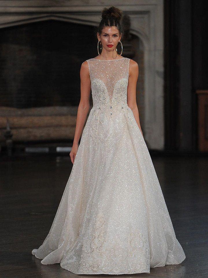 Berta metallic wedding gown with high neckline | itakeyou.co.uk #wedding #weddingfashion #bridal #weddingdress #weddinggown #bridalgown #weddingdresses #weddinggowns #berta #bridalinspiration #weddinginspiration #engaged