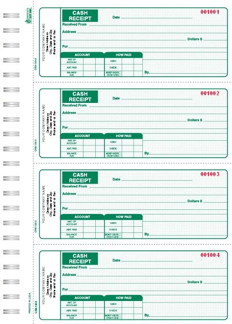 3 Part Green Cash Receipt Books 4 Up To A Page Receipt Free Receipt Template Cash