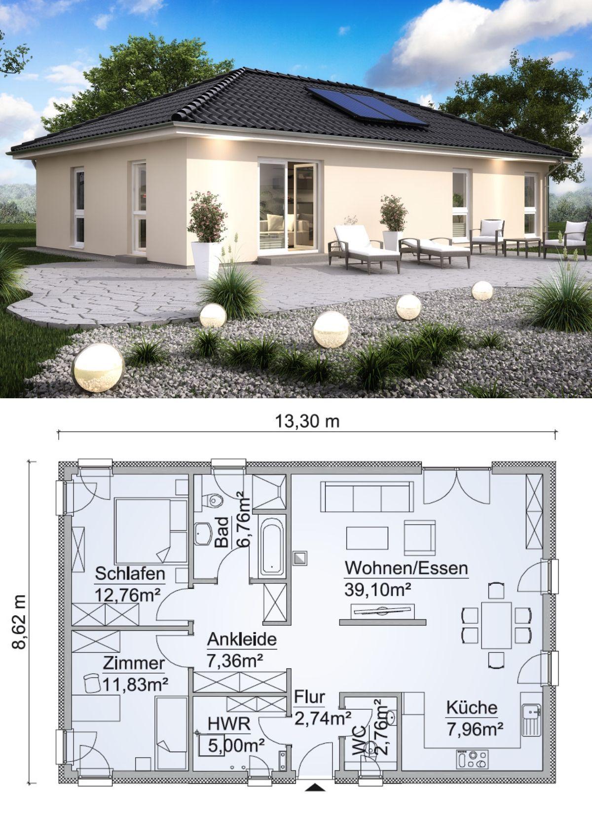 Bungalow Haus modern Grundriss ebenerdig mit Walmdach