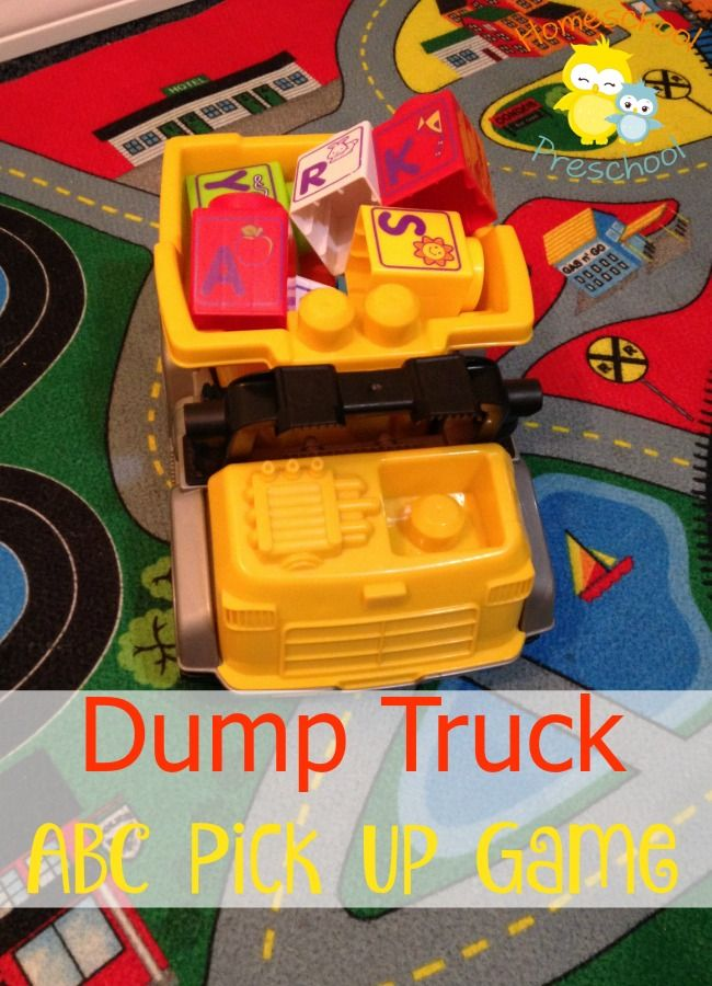 Do you have a preschooler that loves anything they can drive and put stuff in? With any variety of truck or ABC block this alphabet game is sure to be a big hit!   http://homeschoolpreschool.net