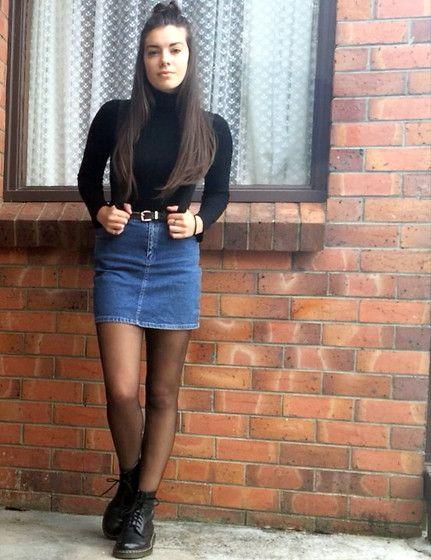 Turtle Neck, Vintage Denim Skirt, Dr
