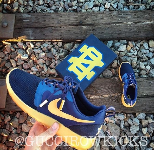Nike Custom Notre Dame Navy & Gold Roshe Run Sneakers Available for  purchase on our website