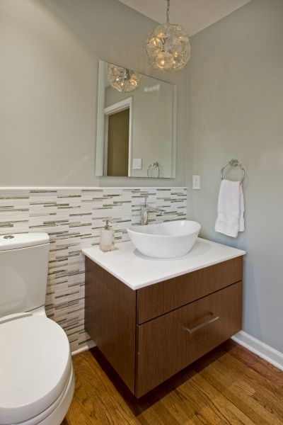 Modern powder room bryn mawr pa this powder room - Modern powder room vanity ...