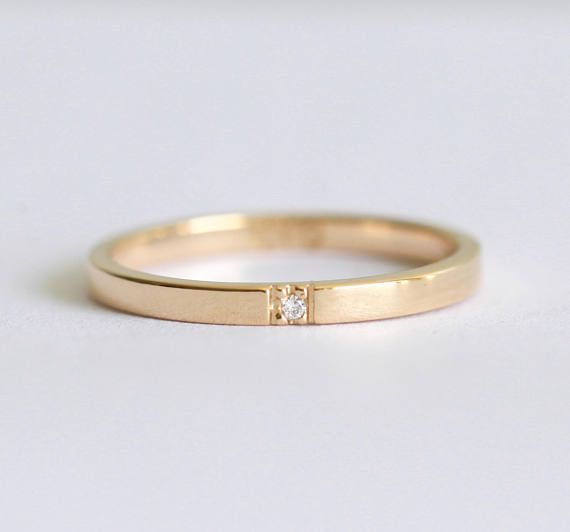Rose Gold Wedding Band 2mm Brushed 14k Solid Classic Rectangle Square Sides Flat Stacking Ring Satin Finish