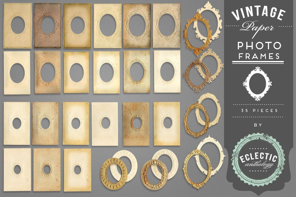 35 antique paper frames with scrolled oval edges! These vintage graphics will…