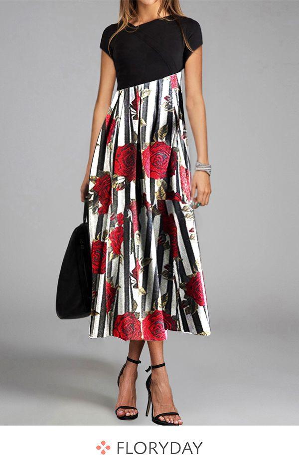 Kurzärmliges Maxi-Kleid mit V-Ausschnitt und Blumenmuster #afrikanischekleidung