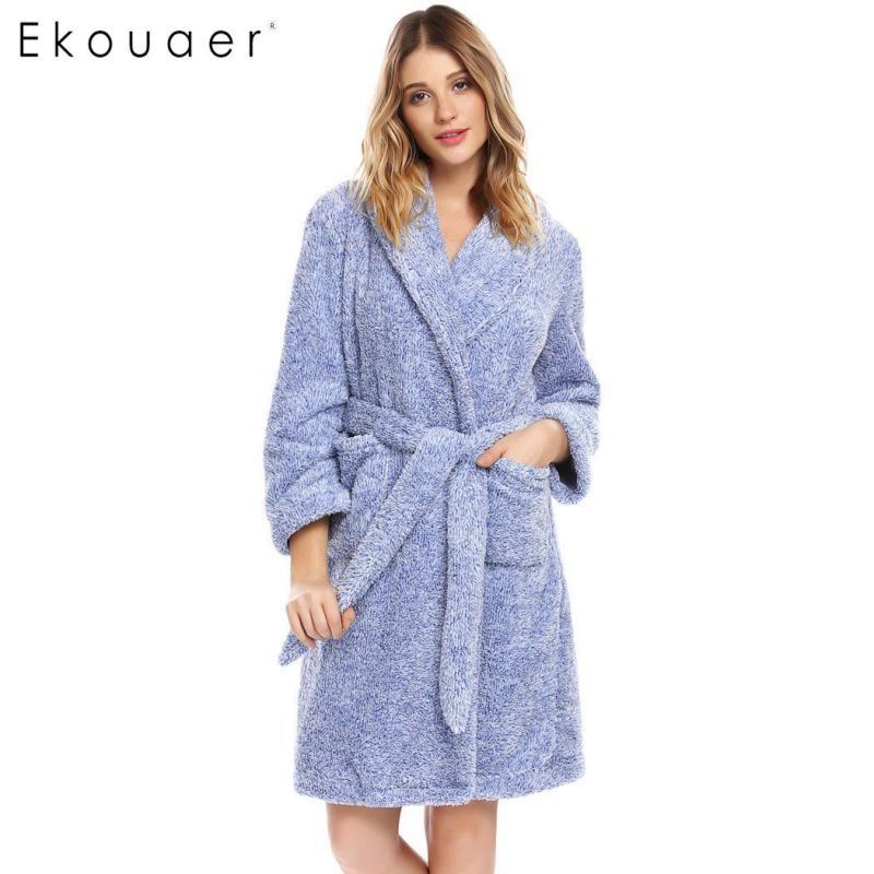 a0424c389d Warm soft robes women kimono plush bathrobe long sleeve shawl collar  nightwear spa robe bridesmaid night robes winter  polyester  100%  flannel   full  solid ...