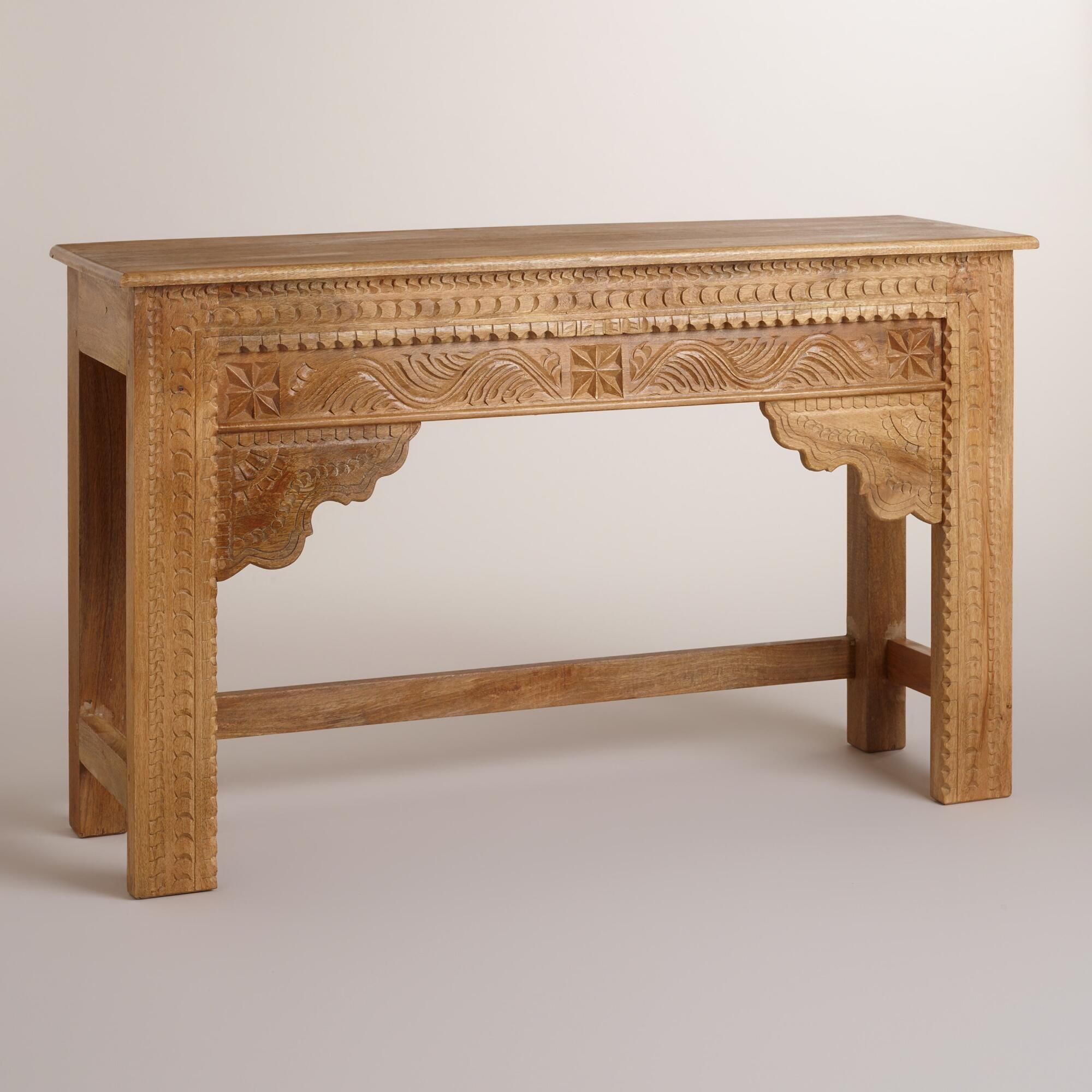 Natural carved wood console table console tables hand carved natural carved wood console table geotapseo Gallery