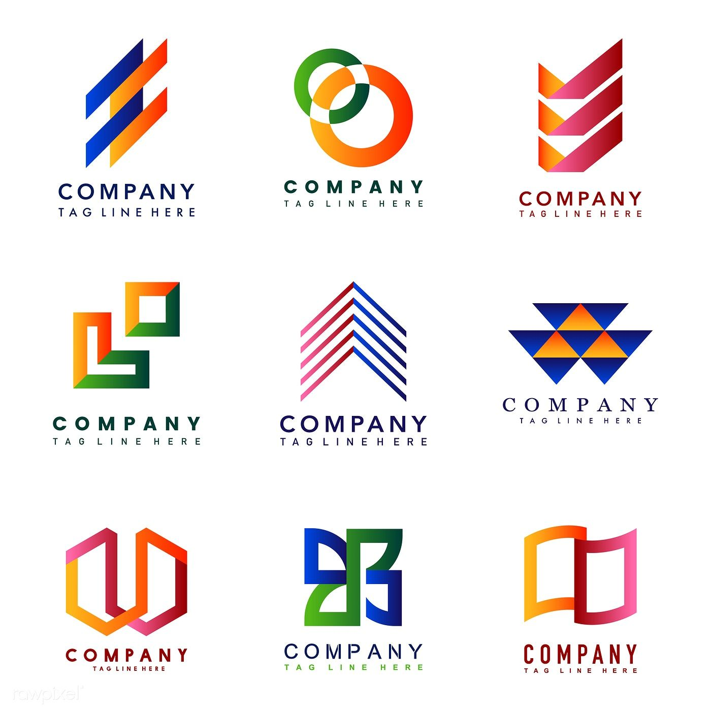 Download premium illustration of Set of company logo design ...