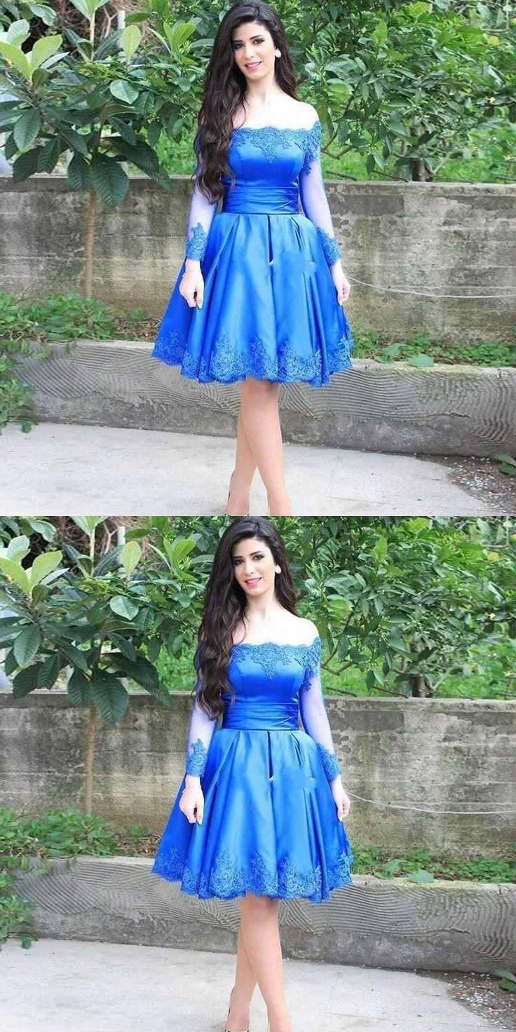 b0b6e65c733 A-Line Off-the-Shoulder Long Sleeves Royal Blue Homecoming Dress ...