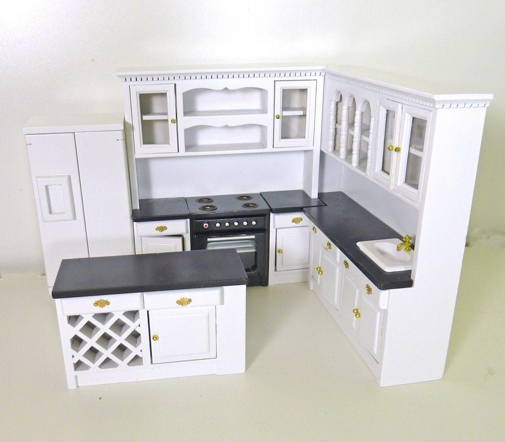 Dollhouse Miniature Modern Black White Kitchen Set W Island T5296 Townsquareminiatures