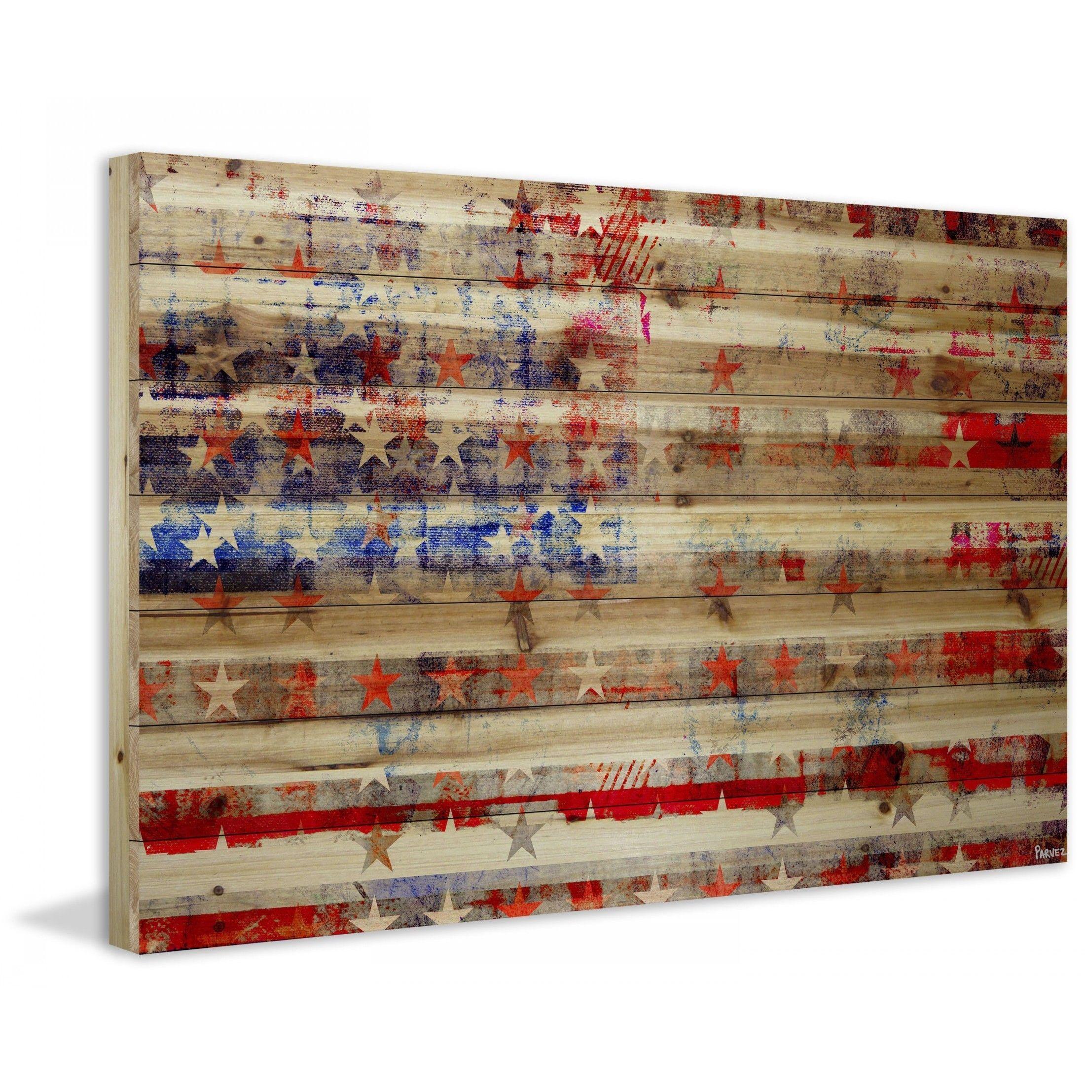 "Parvez Taj Flag Wood Art: ""Stars & Stripes"" Print On Natural Pine Wood"