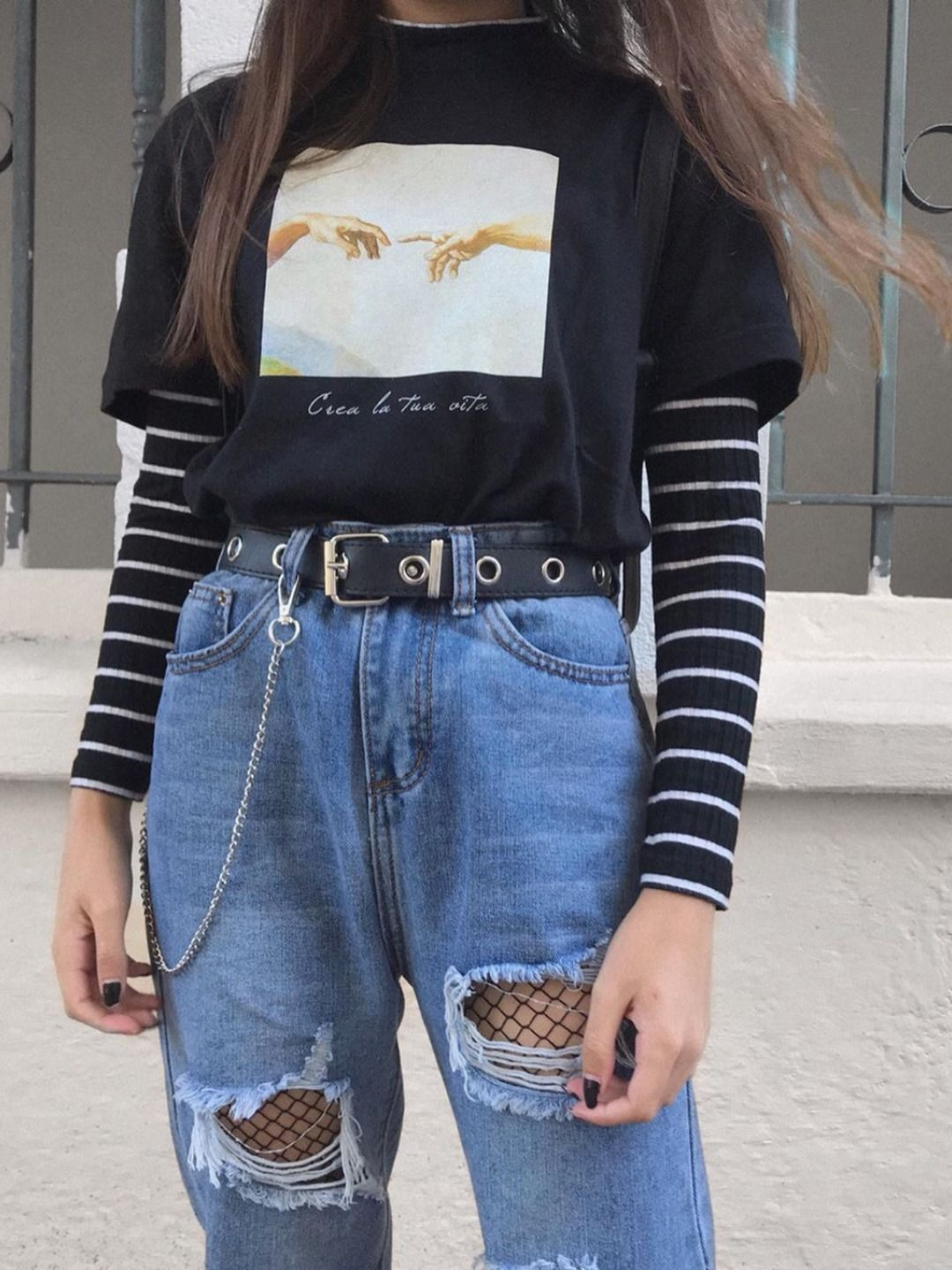 Tumblr Baddie Girl Fall Stylish Outfit High Waisted Ripped Blue Jeans Fishnet Stocking Tights Style