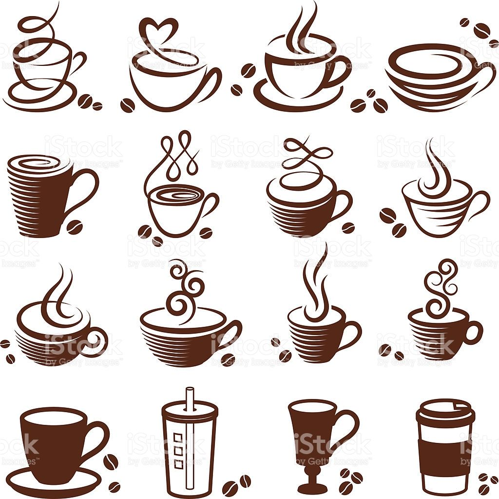 Coffee cup vector white icon set Cup tattoo, Coffee art