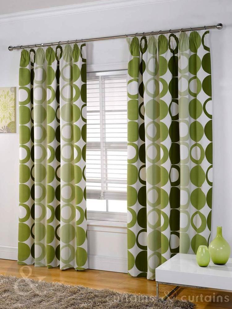 Halo panama green pencil pleat curtain curtains uk for Modern living room curtains uk