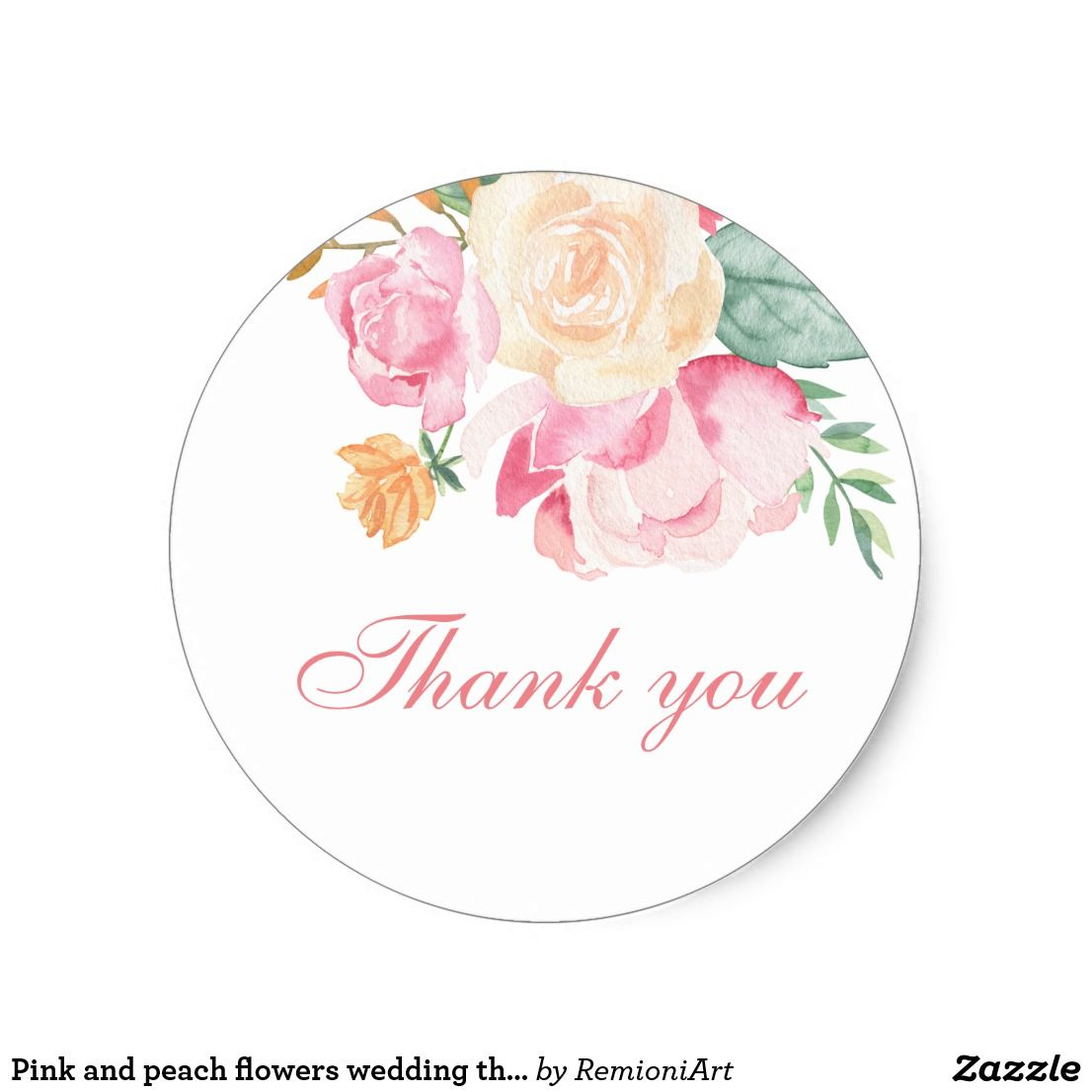 Pink and peach flowers wedding thank you classic round sticker thèmes mariage fleurs de mariage