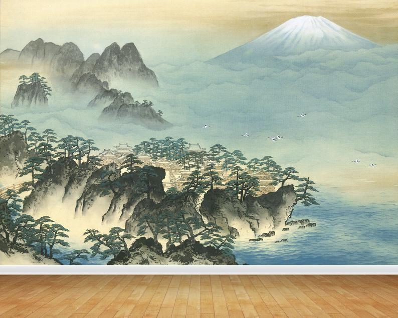 Japanese Wall Art Mural Print Vinyl Wallpaper Large Wall Decor Etsy Japanese Wall Art Japanese Painting Japan Wall Art