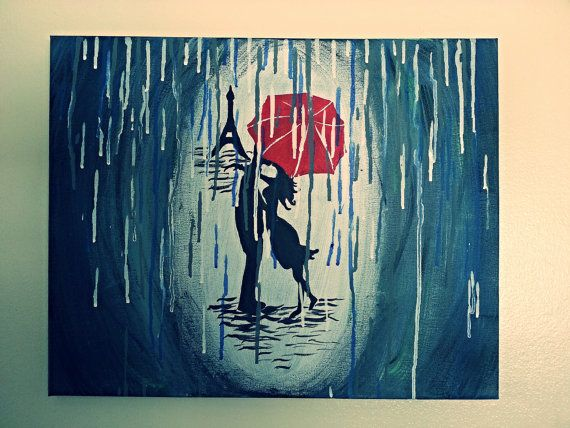 Rainy Day In Paris Acrylic Painting Silhouette Couple With Red Umbrella The Rain