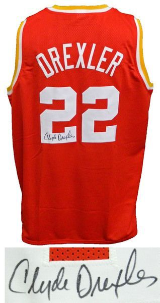 c4cac5f6b Clyde Drexler Houston Rockets Signed Red Throwback Custom Basketball Jersey  - Schwartz Sports