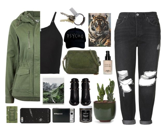 """""""Untitled #2895"""" by tacoxcat ❤ liked on Polyvore featuring Frye, Lost & Found, Topshop, Jakke, Bobbi Brown Cosmetics, GET LOST, CB2, Little Barn Apothecary, Polaroid and Aveda"""