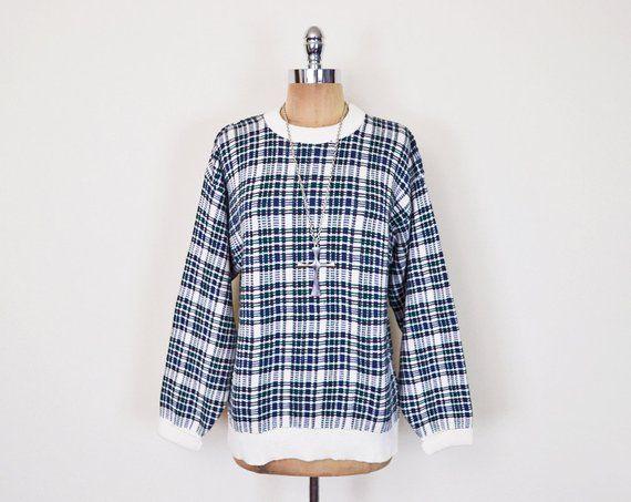 Vintage 80s 90s Plaid Sweater Jumper Oversize Sweater Slouchy Sweater  Boyfriend Sweater Hipster Swea 6a711edff