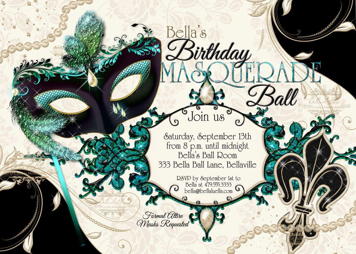 Masquerade Party Invitation, Mardi Gras Party, Venetian Mask Party ...