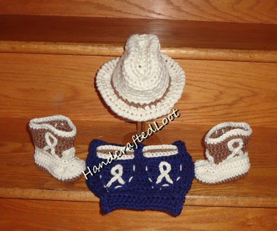 Newborn Baby Crochet Cowboy Hat Boots Photo Prop Set Outfit Blue Jean Diaper  Cover Shower Gift Keeps 5a64eef7ac39