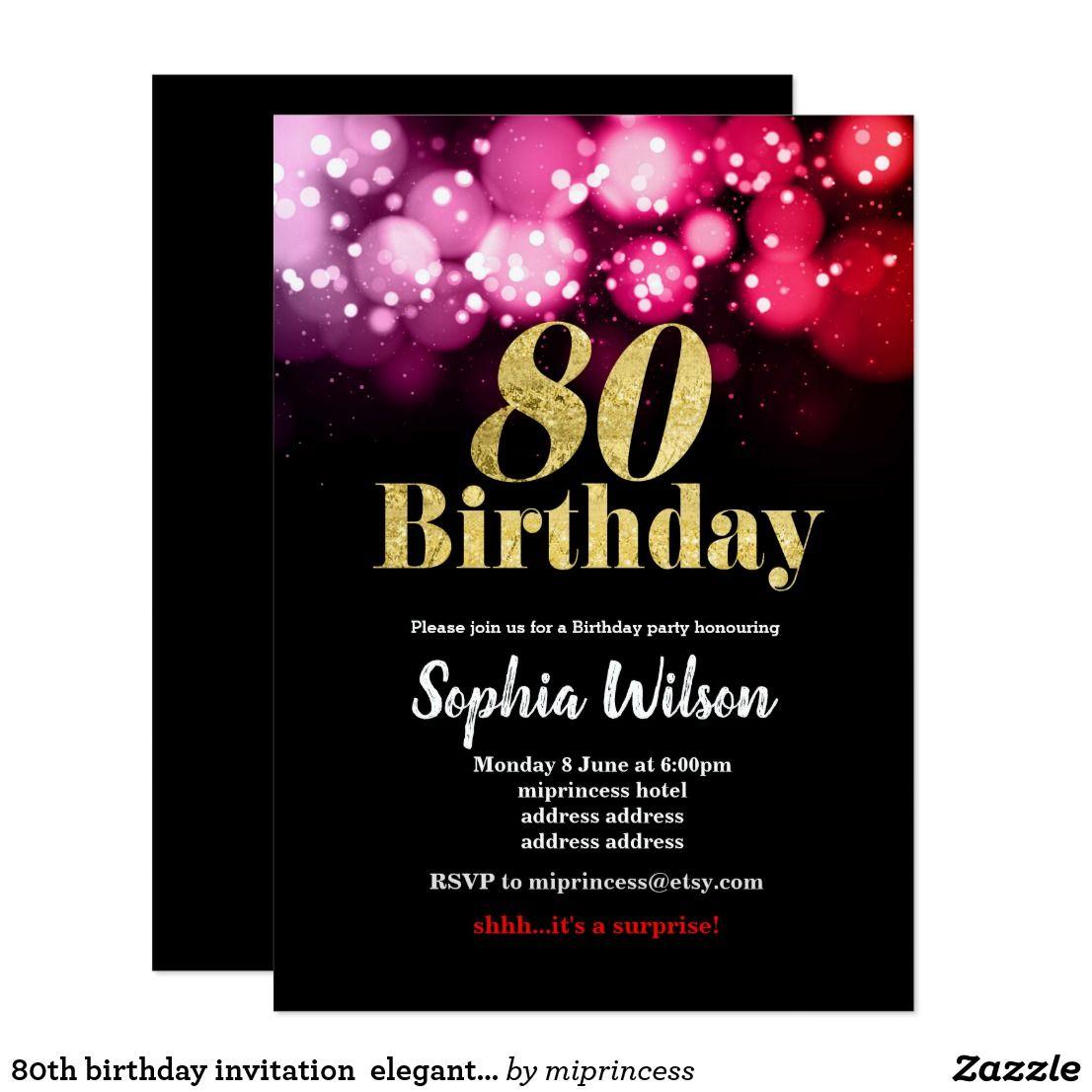 80th birthday invitation elegant glitter pink red Fun birthday party ...