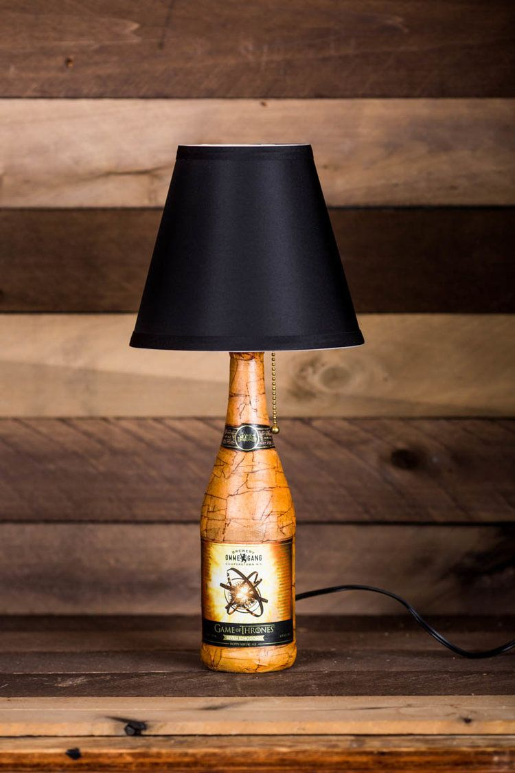 Ommegang Game of Thrones inspired beer bottle lamp with distressed look