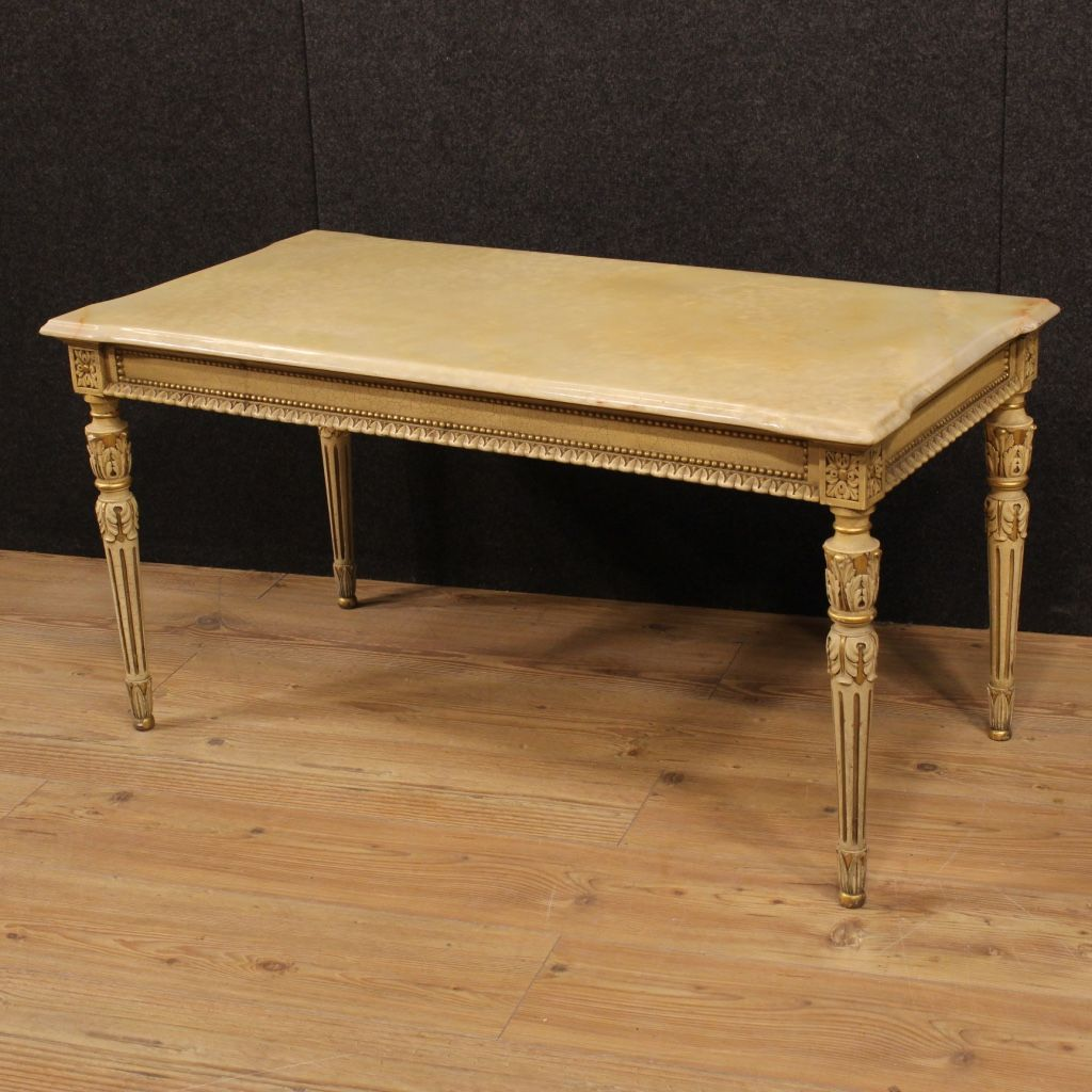750 italian lacquered and gilded coffee table with onyx