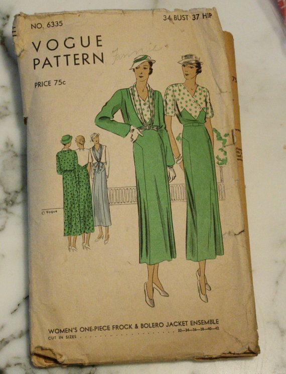 RARE Vogue 6335 Vintage Dress and Bolero Jacket 1930s Sewing Pattern ...