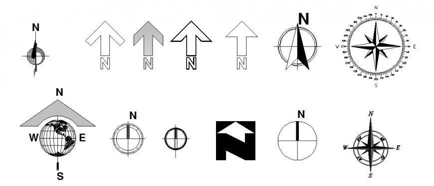 Arrow North Direction Detail Dwg File Architecture Symbols Architecture Drawing Arrow