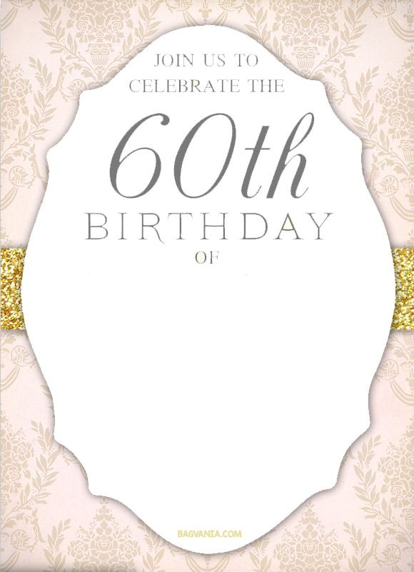 Cool FREE Printable 60th Birthday Invitation Templates